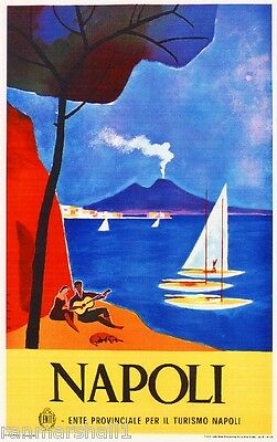 Napoli Mt. Vesuvio Italy Vintage Art Travel Advertisement Poster Picture Print