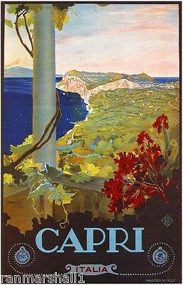 Capri Italy Vintage Italian Europe Art Travel Advertisement Poster Picture Print