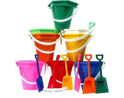 3 Small Plastic Sand Buckets,Shovels, I Dig You Stickers Color Choices Mfg USA