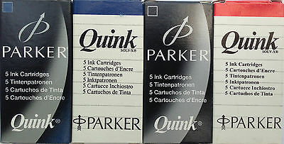 Parker Quink Ink Fountain Pen Cartridges Large -Black,blue,red,blue/black-5 Pack