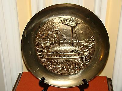 Vintage Solid Brass Asian Decorative Old Ships Motif Decor Wall Hanging Plate