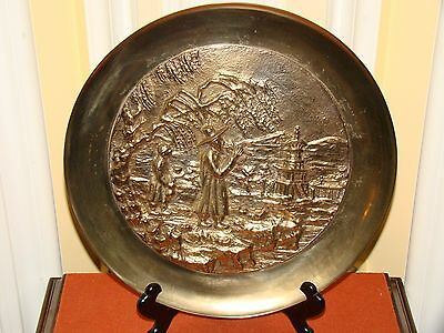Vintage Decorative Solid Brass Asian Wall Hanging Plate