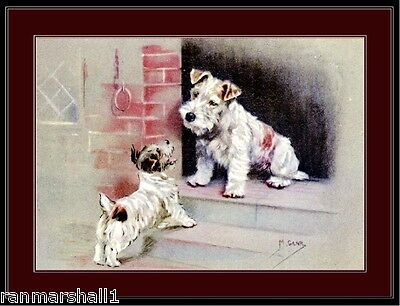 Picture Print Wire Fox Terrier or Sealyham Terrier Mother and Puppy Dog Art