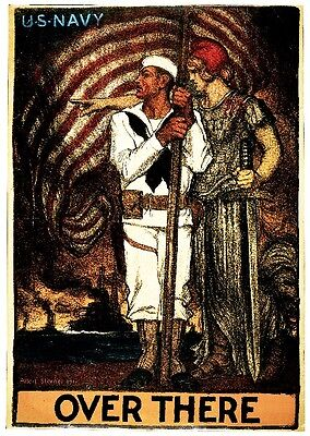 1917 Over There Navy WWI American Patriotic Wartime Advertisement Poster Print