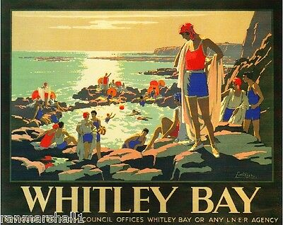 Whitley Bay Great Britain Vintage Travel Advertisement Poster Picture Print