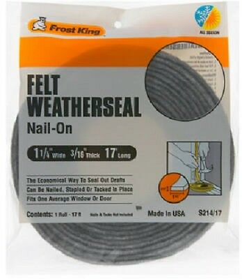 "Thermwell Frost King 1.25"" x 3/16"", 17' Multi-Purpose Felt Weather-Strip, 4 Pack"