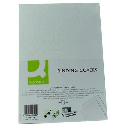 Q-Connect Binding Comb Covers Leathergrain Pk 100 White A4