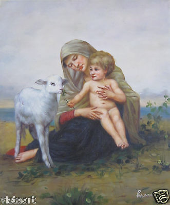 "High Quality Hand Painted Oil On Canvas 20""x24"" ~Mother Child and Lamb~"