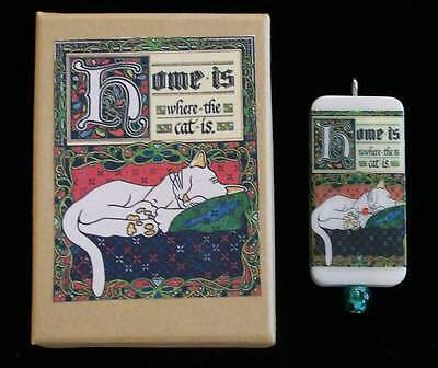Home Is Where The Cat Is, Gorgeous Cat Pendant And Matching Box