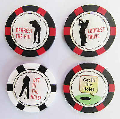"Poker/Roulette Chip Golf Ball Marker Nearest/Longest/Get In/Speech ""NEW"""