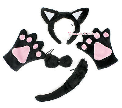 Halloween Black Cat Claw Paw Glove Ear Headband Bow Tail Unisex Party Costume
