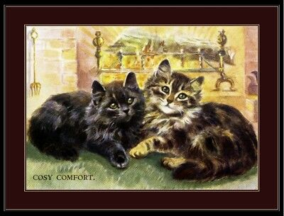 English Picture Black Tabby Kitten Cat Art Print