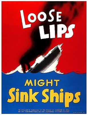 1944 Loose Lips WWII American Patriotic Wartime Advertisement Poster Print