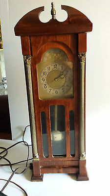 Vintage United Electric Grandfather Clock Miniature Table Top Wood Brass  Works