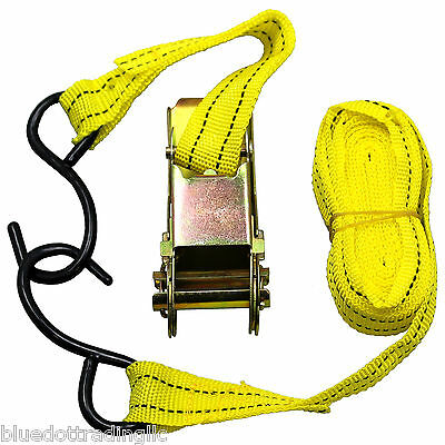 """US SELLER ~ Ratchet Tie Down Cargo Strap 1"""" inch x 13' Ft with S Hook ~Brand New"""