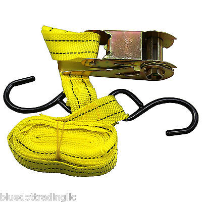"""1pc 1""""X15' Ratcheting Tie Down Cargo Straps Truck Bed Motorcycle Hauling Moving"""
