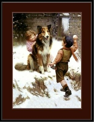 English Picture Print Collie Dog Children Snow Art