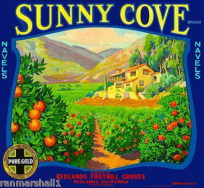 Redlands Sunny Cove #1 Orange Citrus Fruit Crate Label Art Print