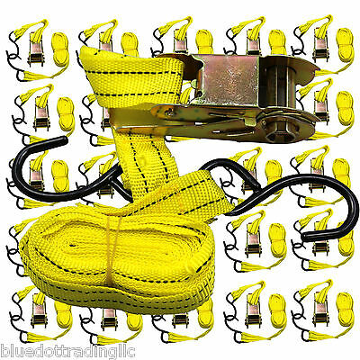 """24pc 1""""X15' Ratcheting Tie Down Cargo Straps Moving Truck Bed Motorcycle Hauling"""