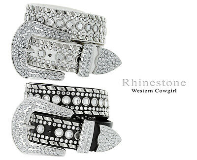 "Western Rhinestone Cowgirl Woman's Fashion Studded Belt 1-1/2"" Wide"