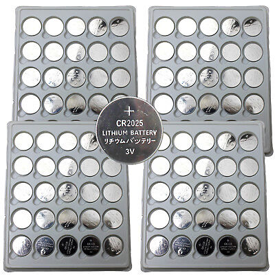 100 PCS CR2025 Lithium Battery 3V Button Cell for Watch Calculator Remote