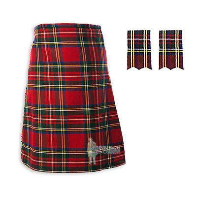 Mens Scottish Tartan Deluxe 8-Yd Kilt & Flashes Set - Stewart Royal - Sizes!