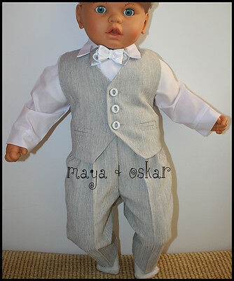 Baby Boy Grey Smart Pageboy Outfit  Baptism Wedding Christening Formal Suit 0-24