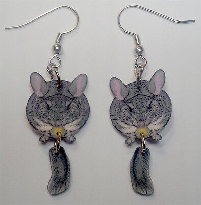 Chinchilla with Swinging Tail Earrings Handcrafted Plastic Made in USA