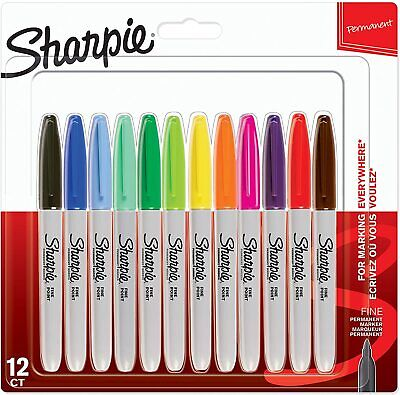 Sharpie Marker Pens Permanent Fine Assorted Colours Pack Of 12
