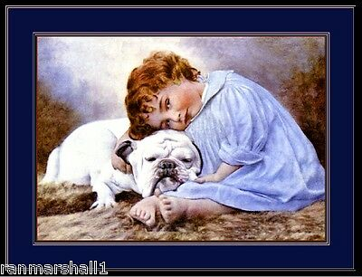 English Picture Print Pet Bulldog Bull Puppy Dog & Child Vintage Art Poster