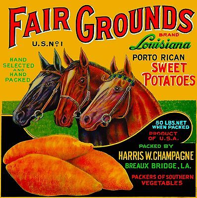 Breaux Bridge Louisiana FairGround Horse Sweet Potato Yams Yam Crate Label Print