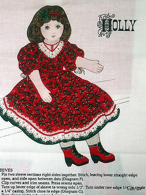 """Victorian Fabric Panel Christmas DOll Red dress 25"""" Cranston Cut n Sew HOLLY"""