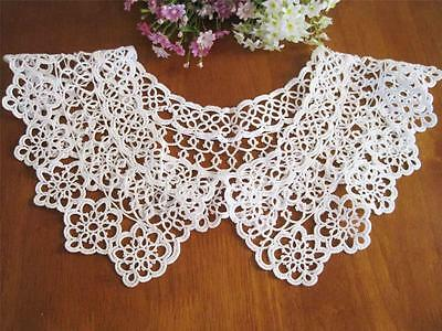 Vintage Style Hand Tatting Lace Cotton Collar White