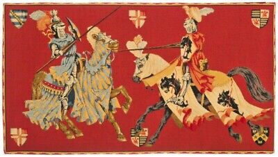 """New 32"""" Medieval Joust/Tournament Tapestry Wall Hanging, Fully Lined, Rod Sleeve"""