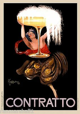 Contratto Champagne Wine European Advertisement Art Vintage Poster Print