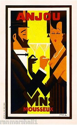 Anjou Vins Champagne Advertisement Art Poster Print