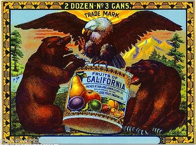 San Jose Fruits of California Bear & Eagle Can Fruit Crate Label Print