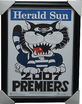 Geelong 2007 Premiers Herald Sun WEG Print FRAMED - BARTEL JOHNSON SELWOOD