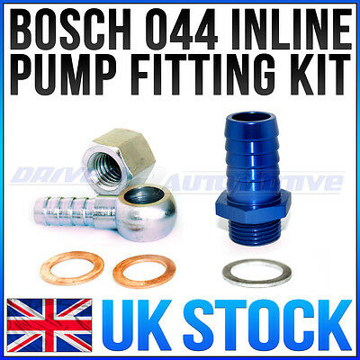 BOSCH 044 INLINE FITTING KIT M18x1.5mm INLET FOR 15MM FUEL HOSE W/ BANJO OUTLET