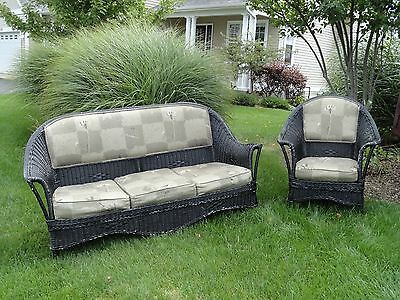 1920's Bar Harbor matching Wicker Sofa and chair