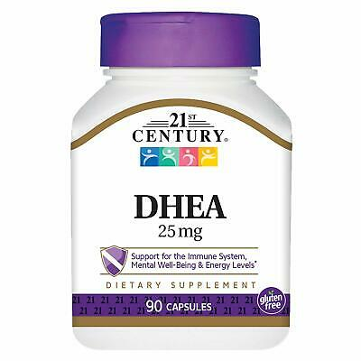 21st Century DHEA 25 mg Capsules, 90 Count -Expiration Date 06-2019-