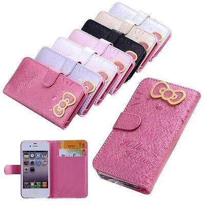 New Hello Kitty Leather Wallet Pouch Case Cover Skin for iPhone 4 4S 5 5S 6 Plus