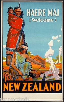 Haere Mai Welcome New Zealand Vintage Travel Advertisement Art Poster