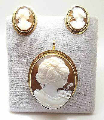 14K Gold Genuine Natural Shell Cameo Pin And Earrings Set (#1031)