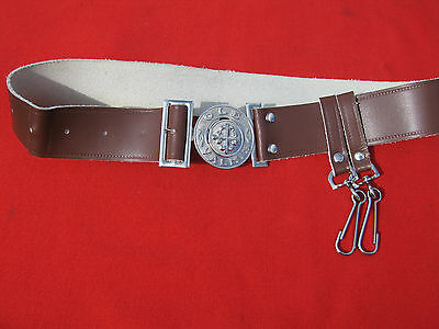 Finnish Vintage Scouts Leather Belt With The Buckle. 1970 era.
