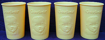 Gerber Baby Four Yellow Plastic Cups Gerber Products Baby Face Vintage USA 1960s