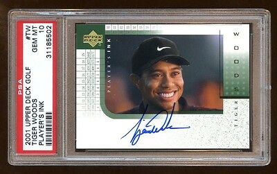 Psa 10 Tiger Woods 2001 Ud Player's Ink Rc Auto Sp Autograph Oncard Beautiful !