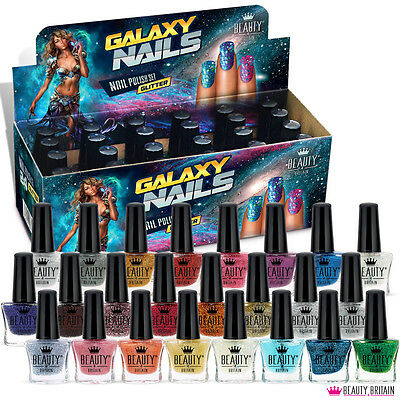 24 x Glitter Nail Polish Set Galaxy 24 Different Modern Colours UK Seller