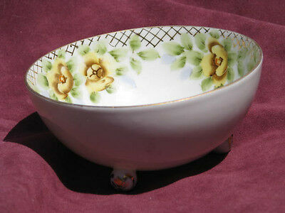 Vintage Nippon(Blue Sun Rising)  3 Footed Bowl Handpainted Pansies Gold Trim