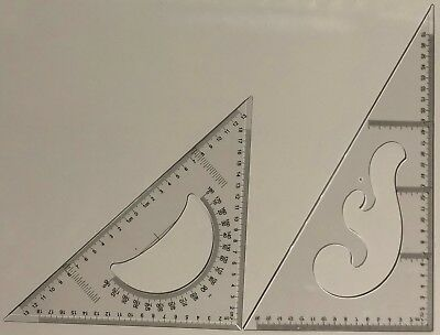 30/60 & 45 DEGREE GEOMETRY TRIANGLE RULER DRAWING DRAFTING SET-2 PIECES- 30 cm